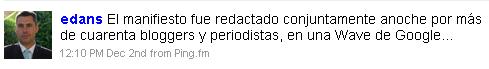 Tweet de Enrique Dans aclarando la autoría original del manifiesto