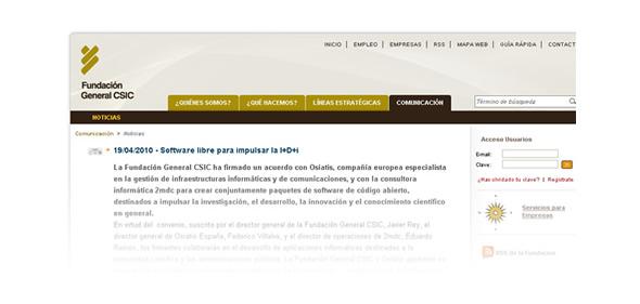 La Fundación General CSIC también se ha hecho eco de la noticia en su web